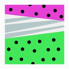 Dots And Lines, Mixed Shapes Pattern, Colorful Abstract Design Medium Glasses Cloth (2 Sides) by Casemiro