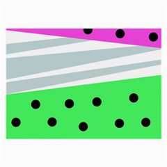 Dots And Lines, Mixed Shapes Pattern, Colorful Abstract Design Large Glasses Cloth by Casemiro