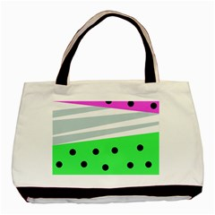 Dots And Lines, Mixed Shapes Pattern, Colorful Abstract Design Basic Tote Bag (two Sides) by Casemiro