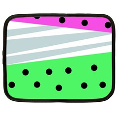 Dots And Lines, Mixed Shapes Pattern, Colorful Abstract Design Netbook Case (large) by Casemiro