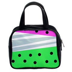 Dots And Lines, Mixed Shapes Pattern, Colorful Abstract Design Classic Handbag (two Sides) by Casemiro