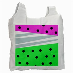 Dots And Lines, Mixed Shapes Pattern, Colorful Abstract Design Recycle Bag (one Side) by Casemiro