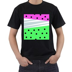 Dots And Lines, Mixed Shapes Pattern, Colorful Abstract Design Men s T-shirt (black) by Casemiro