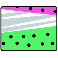 Dots And Lines, Mixed Shapes Pattern, Colorful Abstract Design Fleece Blanket (medium)  by Casemiro