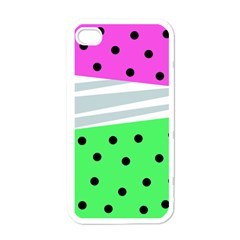 Dots And Lines, Mixed Shapes Pattern, Colorful Abstract Design Iphone 4 Case (white) by Casemiro