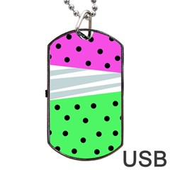 Dots And Lines, Mixed Shapes Pattern, Colorful Abstract Design Dog Tag Usb Flash (one Side) by Casemiro