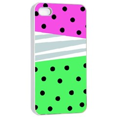 Dots And Lines, Mixed Shapes Pattern, Colorful Abstract Design Iphone 4/4s Seamless Case (white) by Casemiro