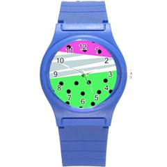 Dots And Lines, Mixed Shapes Pattern, Colorful Abstract Design Round Plastic Sport Watch (s) by Casemiro