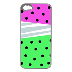 Dots And Lines, Mixed Shapes Pattern, Colorful Abstract Design Iphone 5 Case (silver) by Casemiro