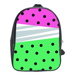 Dots And Lines, Mixed Shapes Pattern, Colorful Abstract Design School Bag (xl) by Casemiro