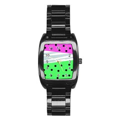 Dots And Lines, Mixed Shapes Pattern, Colorful Abstract Design Stainless Steel Barrel Watch by Casemiro