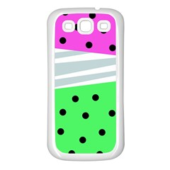 Dots And Lines, Mixed Shapes Pattern, Colorful Abstract Design Samsung Galaxy S3 Back Case (white) by Casemiro