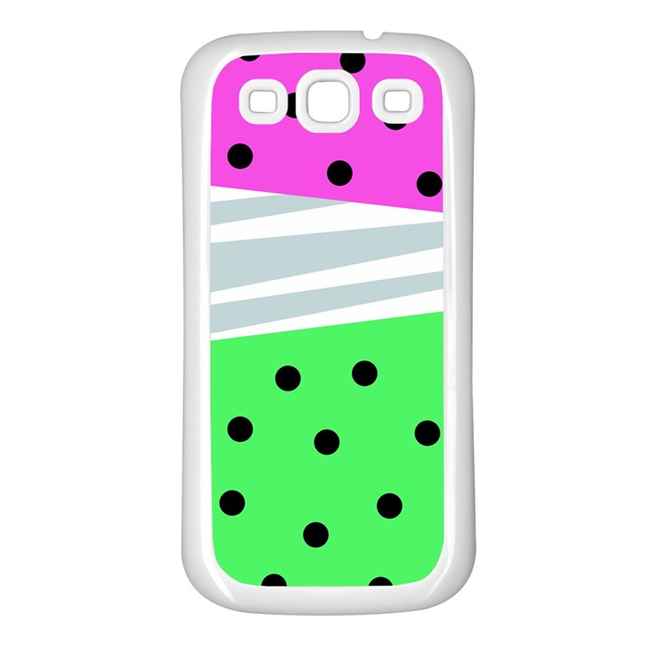 Dots and lines, mixed shapes pattern, colorful abstract design Samsung Galaxy S3 Back Case (White)