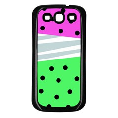 Dots And Lines, Mixed Shapes Pattern, Colorful Abstract Design Samsung Galaxy S3 Back Case (black) by Casemiro