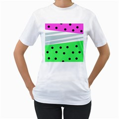 Dots And Lines, Mixed Shapes Pattern, Colorful Abstract Design Women s T-shirt (white)  by Casemiro
