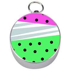 Dots And Lines, Mixed Shapes Pattern, Colorful Abstract Design Silver Compasses by Casemiro