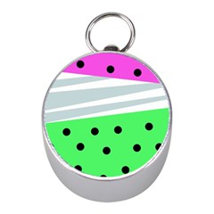Dots And Lines, Mixed Shapes Pattern, Colorful Abstract Design Mini Silver Compasses by Casemiro