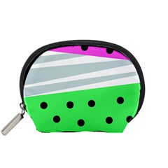Dots And Lines, Mixed Shapes Pattern, Colorful Abstract Design Accessory Pouch (small) by Casemiro