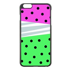 Dots And Lines, Mixed Shapes Pattern, Colorful Abstract Design Iphone 6 Plus/6s Plus Black Enamel Case by Casemiro