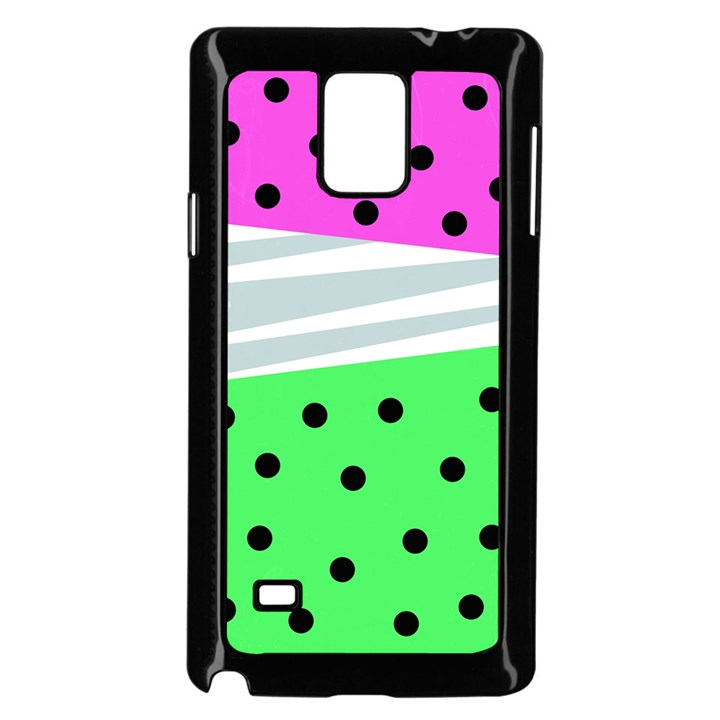 Dots and lines, mixed shapes pattern, colorful abstract design Samsung Galaxy Note 4 Case (Black)