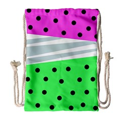 Dots And Lines, Mixed Shapes Pattern, Colorful Abstract Design Drawstring Bag (large)