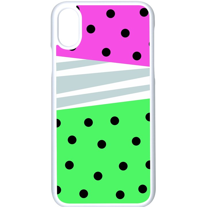 Dots and lines, mixed shapes pattern, colorful abstract design iPhone X Seamless Case (White)