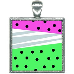 Dots And Lines, Mixed Shapes Pattern, Colorful Abstract Design Square Necklace by Casemiro