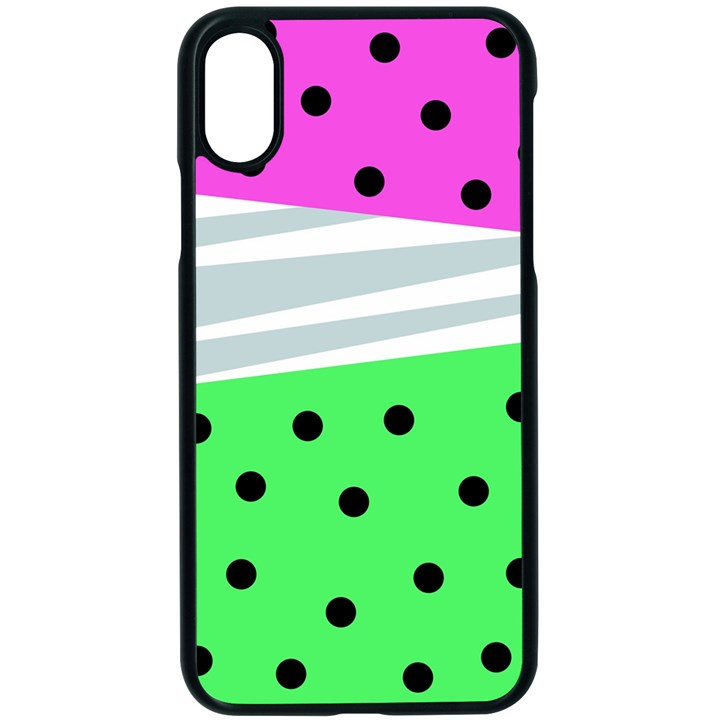 Dots and lines, mixed shapes pattern, colorful abstract design iPhone XS Seamless Case (Black)