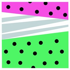 Dots And Lines, Mixed Shapes Pattern, Colorful Abstract Design Wooden Puzzle Square by Casemiro