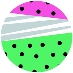 Dots And Lines, Mixed Shapes Pattern, Colorful Abstract Design Wooden Puzzle Round by Casemiro