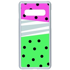Dots And Lines, Mixed Shapes Pattern, Colorful Abstract Design Samsung Galaxy S10 Seamless Case(white) by Casemiro