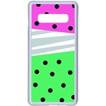 Dots and lines, mixed shapes pattern, colorful abstract design Samsung Galaxy S10 Plus Seamless Case(White) Front