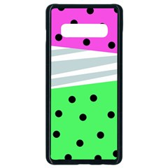 Dots And Lines, Mixed Shapes Pattern, Colorful Abstract Design Samsung Galaxy S10 Plus Seamless Case (black) by Casemiro