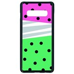 Dots and lines, mixed shapes pattern, colorful abstract design Samsung Galaxy S10 Plus Seamless Case (Black) Front