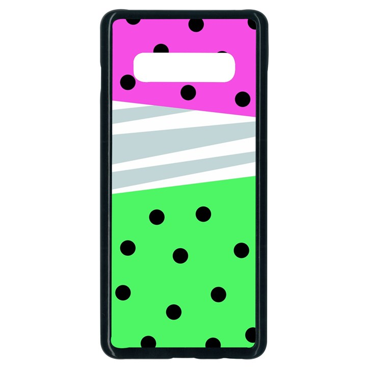 Dots and lines, mixed shapes pattern, colorful abstract design Samsung Galaxy S10 Plus Seamless Case (Black)
