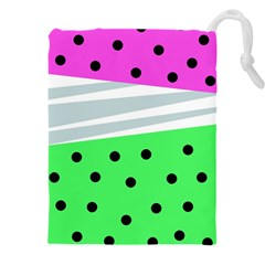 Dots And Lines, Mixed Shapes Pattern, Colorful Abstract Design Drawstring Pouch (5xl)