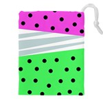 Dots and lines, mixed shapes pattern, colorful abstract design Drawstring Pouch (5XL) Front