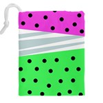 Dots and lines, mixed shapes pattern, colorful abstract design Drawstring Pouch (5XL) Back
