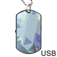 Light Blue Green Grey Dotted Abstract Dog Tag Usb Flash (one Side)