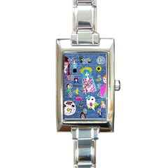 Blue Denim And Drawings Rectangle Italian Charm Watch