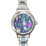 Blue Denim And Drawings Round Italian Charm Watch Front
