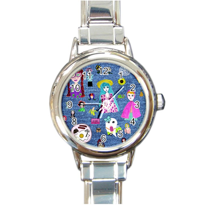 Blue Denim And Drawings Round Italian Charm Watch