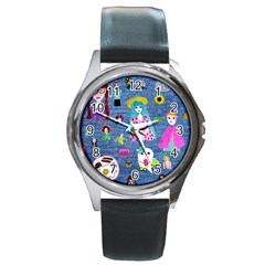 Blue Denim And Drawings Round Metal Watch