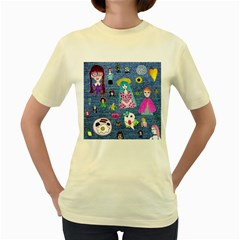 Blue Denim And Drawings Women s Yellow T-Shirt