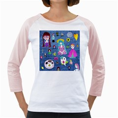 Blue Denim And Drawings Girly Raglan