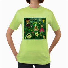 Blue Denim And Drawings Women s Green T-Shirt