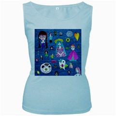 Blue Denim And Drawings Women s Baby Blue Tank Top