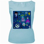 Blue Denim And Drawings Women s Baby Blue Tank Top Front
