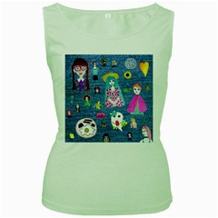 Blue Denim And Drawings Women s Green Tank Top
