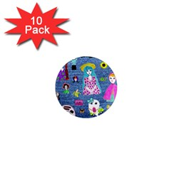 Blue Denim And Drawings 1  Mini Magnet (10 pack)